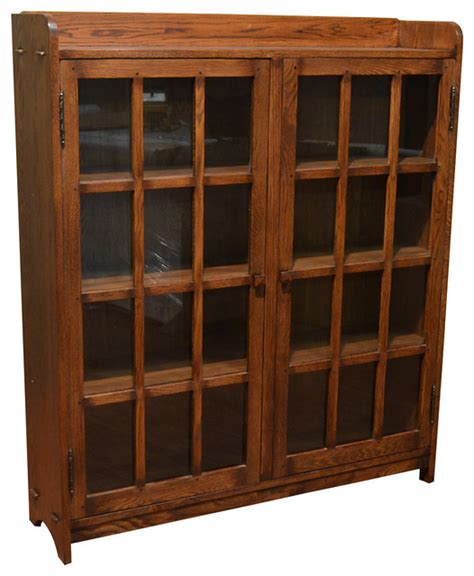 Oak Bookcase With Glass Doors Mission Oak Bookcase With 2 Glass Doors Craftsman Bookcases By Crafters And Weavers