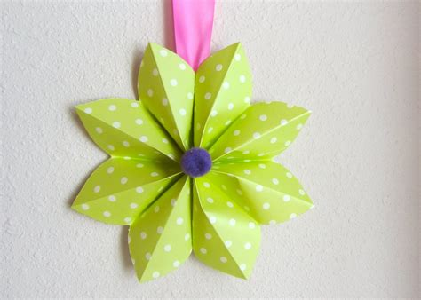 Paper Folded Flowers - how to fold a origami paper flower decoration for a
