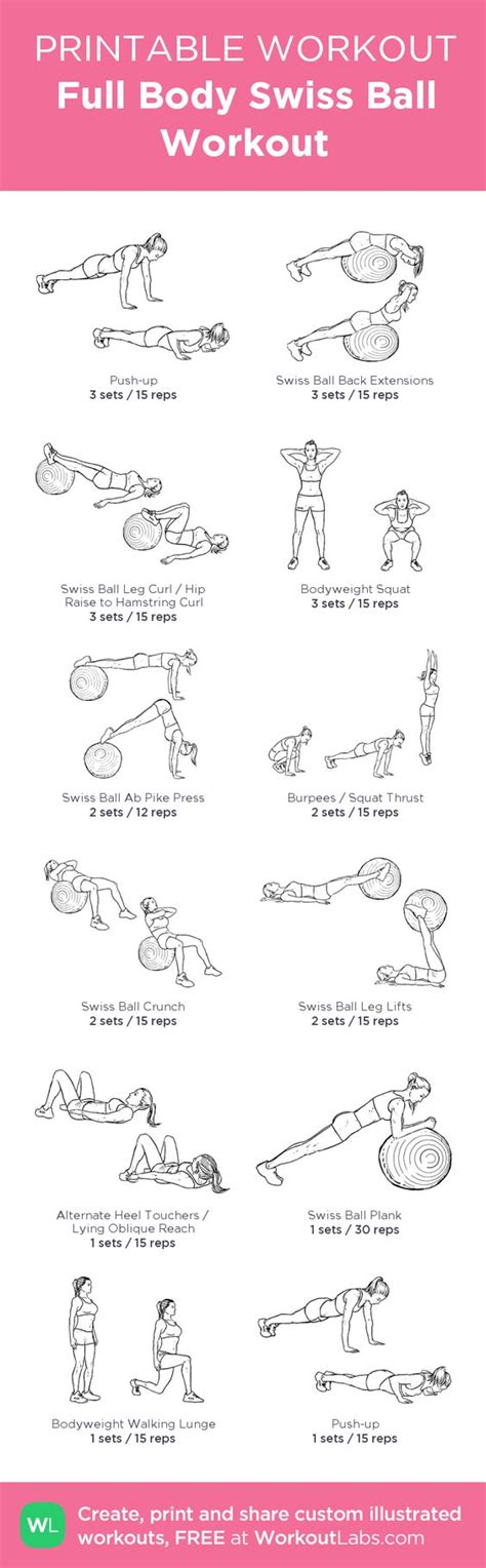printable exercise ball routines full body swiss ball workout my custom workout created