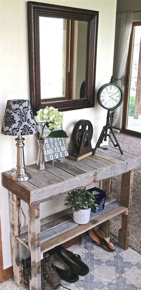 pallet entry table pallet wood foyer table it looks beachy would be