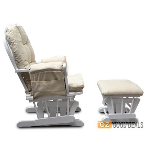 Baby Chair And Ottoman Wooden Baby Glider Sliding Rocking Breast Feeding Chair With Ottoman White Beige Ebay