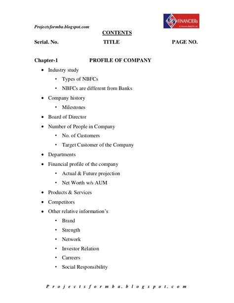 project report financial statement analysis project