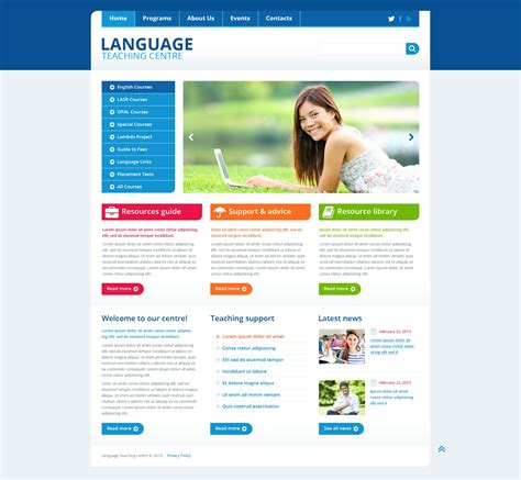 design web page html language language school responsive website template 45435