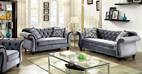 furniture of america living room collections jolanda collection gray flannelette button tufted