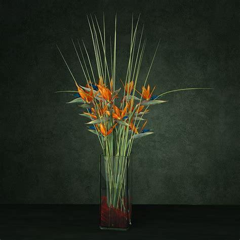 Bird Of Paradise Flower Arrangement Vase by 3d Bouquet Enterance Model