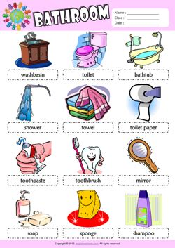 bathroom vocabulary with pictures bathroom esl printable worksheets for kids 1