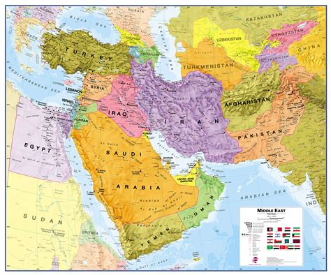middle east map middle east wall map political