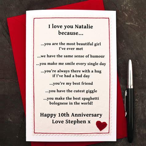 love   personalised anniversary card  jenny