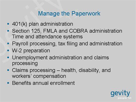 section 125 compensation manage the paperwork 401 k plan administration section 125