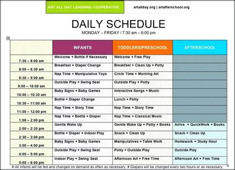 child care daily routine template child care schedule template family day daily routine