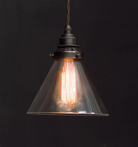 Es Clear Glass Cone Shade Pendant Vintage Lighting Clear Glass Pendant Light Shade