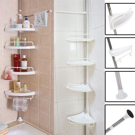 Shower Pole Shelf by 4 Layer Shower Corner Caddy Pole Shelf Adjustable