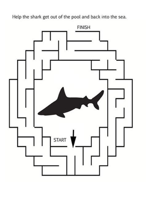 printable shark maze printable animal mazes my kid craft