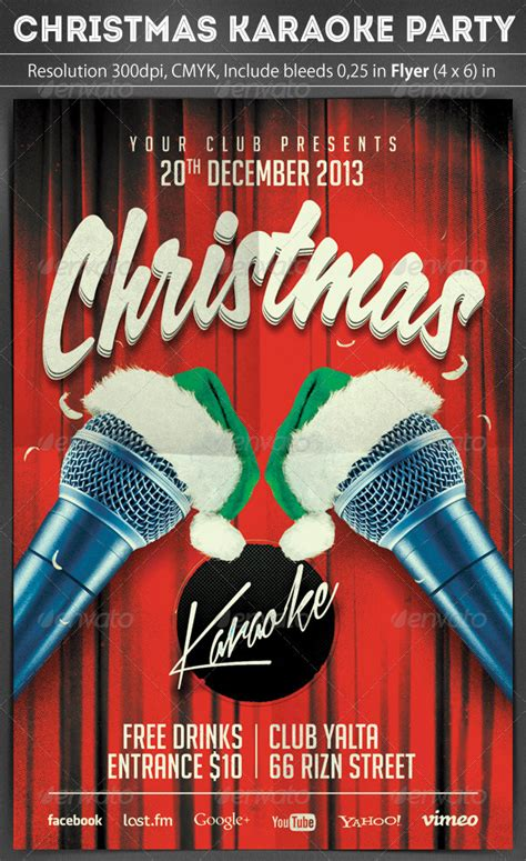 christmas karaoke flyer by grapulo graphicriver