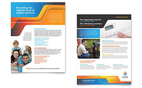 Hvac Brochure Template Design Heating And Cooling Website Template
