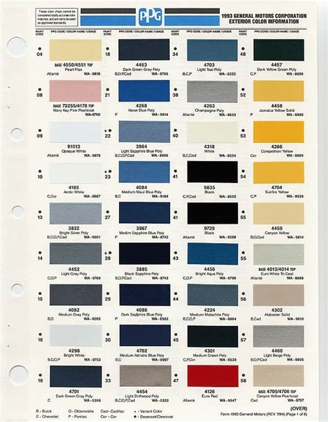 gm color chips color chip selection auto paint colors codes p