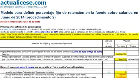 tabla de retefuente para empleados retenci 243 n en la fuente modelos y formatos