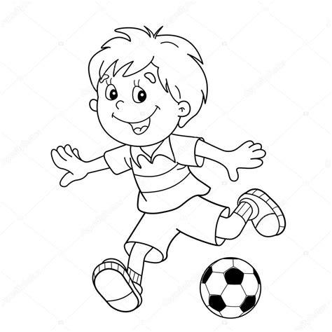 dibujos niños jugando futbol para colorear colorear p 225 gina esquema de ni 241 o de dibujos animados con un