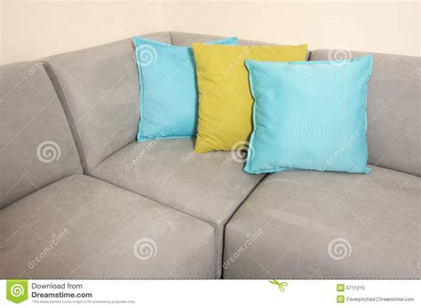 pillows for grey couch grey suede couch pillows royalty free stock photo