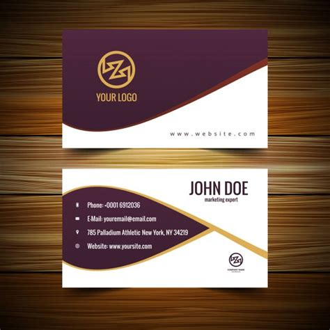 complimentary card template garnet business card with waves vector free