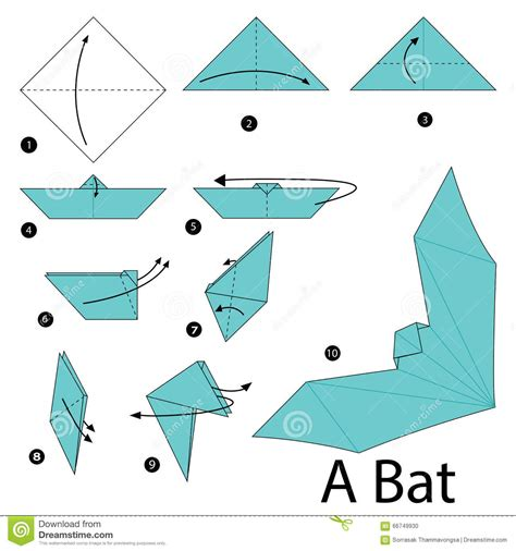 How To Make Paper Origami Animals - step by step how to make origami a bat stock