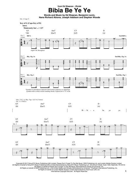 ed sheeran bibia be ye ye lyrics bibia be ye ye guitar tab by ed sheeran guitar tab 181784