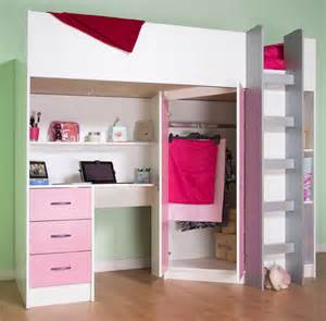 High sleeper cabin bed with desk and wardrobe also wood effects