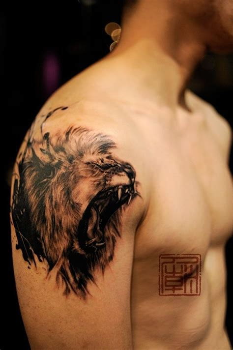 tattoo hours shoulder lion tattoos for men ideas and image gallery for guys