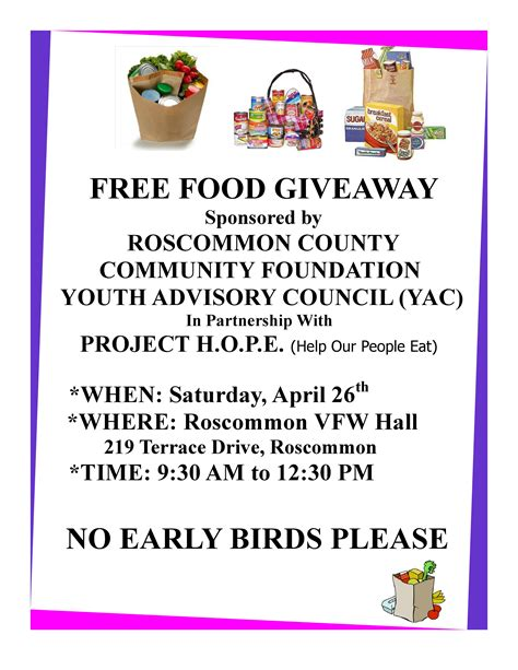 Giveaway Flyer - roscommon county community foundation youth advisory council with project h o p e food