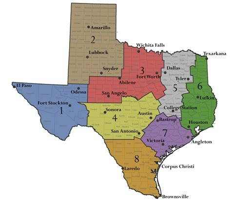 regions of texas map twa leadership