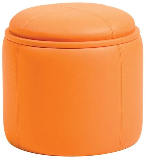 Orange Leather Ottoman Maggie S Room P Kolino Orange Storage Ottoman