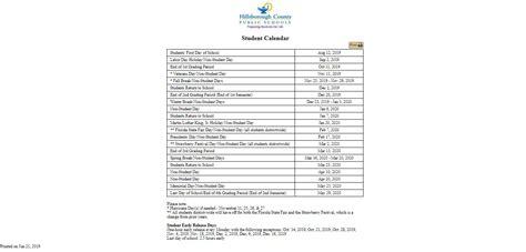 hillsborough county school calendar    calendars