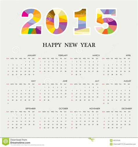 design week calendar 2015 calendar 2015 design template week starts sunday stock
