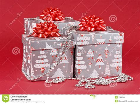 decorated christmas gift boxes royalty free stock image