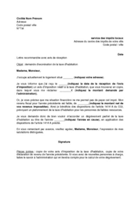 Demande De Dégrevement Taxe Habitation Lettre Lettre De Demande De D 233 Gr 232 Vement Partiel De La Taxe D Habitation Mod 232 Le De Lettre Gratuit