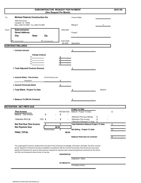 construction invoice template invoice exle