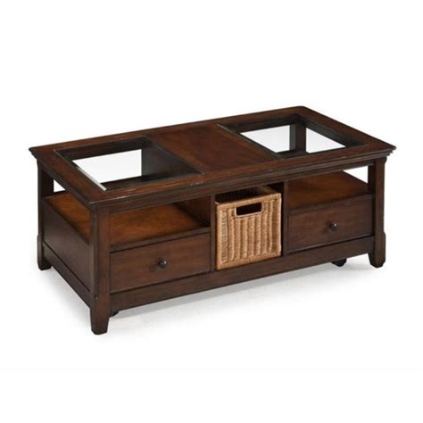 magnussen wood storage rectangular coffee table in