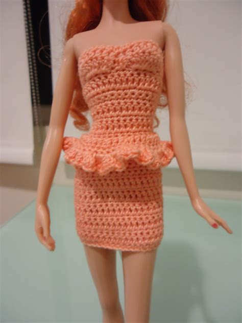pattern crochet clothes fashion doll crochet clothes simple peach bodycon turned
