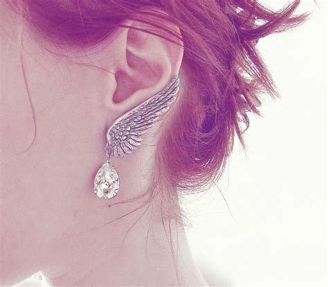 Wing Earrings wing earrings ear climber earrings ear wing clip on