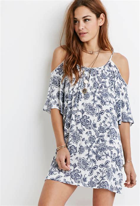 Open Shoulder Flowerly Dress lyst forever 21 floral open shoulder dress in blue