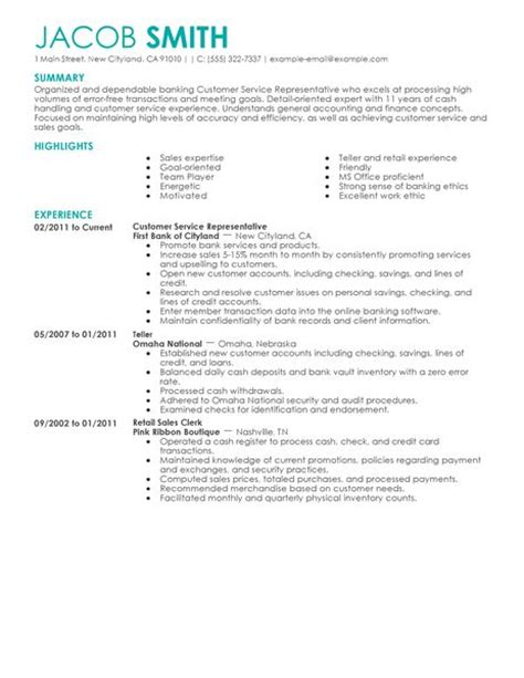 Financial Service Representative Sle Resume by Best Financial Customer Service Representative Resume Exle Livecareer