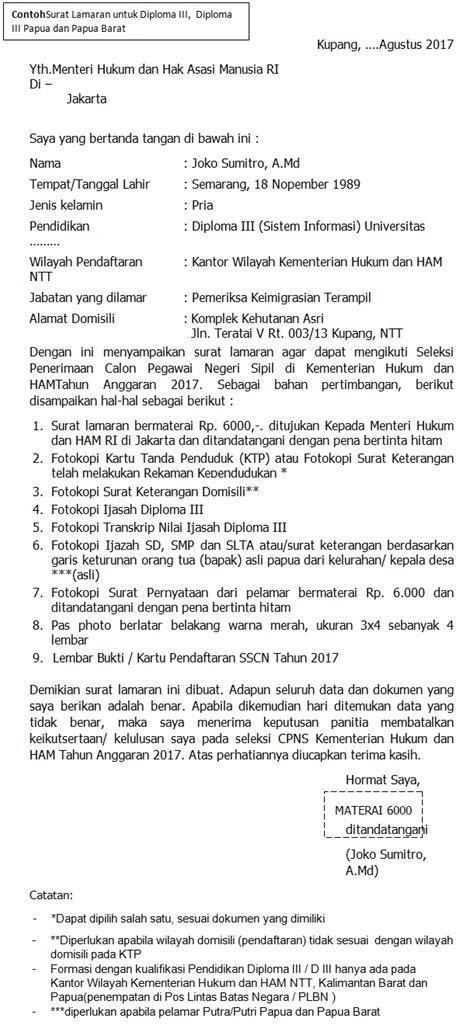 Contoh Surat Lamaran Kerja Cpns 2017 by Format Terbaru Contoh Surat Lamaran Cpns Kementerian Hukum