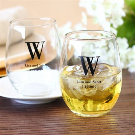 Wedding Favors Personalized by Personalized Bridal Stemless Wine Glasses