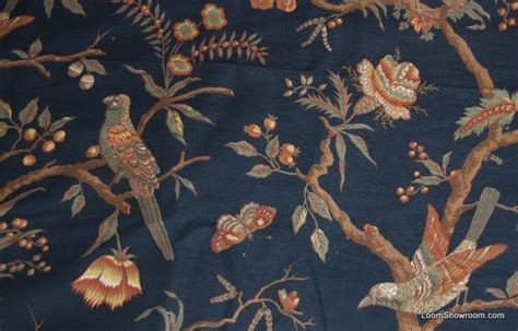 curtain fabric with bird print rem315 13 yard bolt thibaut black background birds on