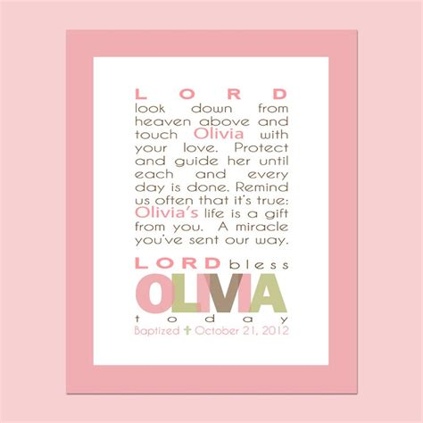printable gift cards for baptism girls prayer printable wall art personalized with child s