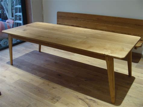 bench of contemporary oak dining table
