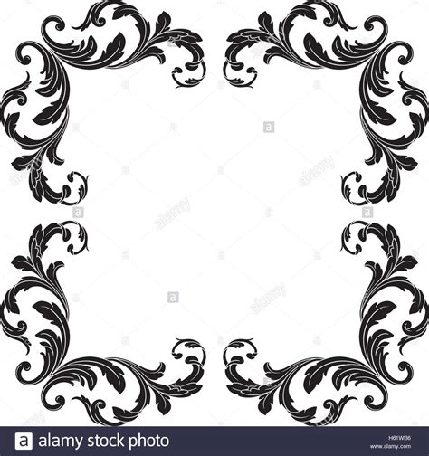 baroque pattern frame vintage baroque frame scroll ornament engraving border
