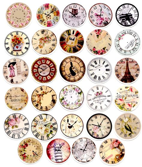printable vintage stickers 29pcs self made retro clock time scrapbooking stickers