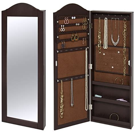 mirrored wall jewelry armoire classic brown wooden curved top wall mounted mirrored