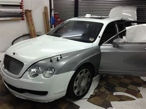 bentley wrapped bentley flying spur wrapped white by wrapping cars
